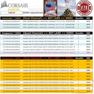 "Corsair Dominator...., to Vengeance DDR4 Ram... SPR price list.   Interested...!! ""Start Order Today or Walk in Direct for Cheaper Offer rate"" (Apr-May 2018 price list)"