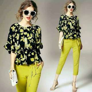 Floral top green pants terno