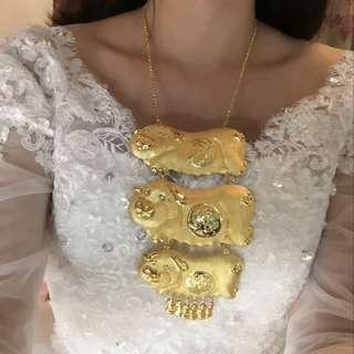 Gold Color Bracelet Three Pig necklace #4