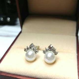 優雅純銀水晶珍珠防敏感閃亮耳環 Elegant Sterling Silver Crystal Pearl Anti-Sensitive Shiny Earrings