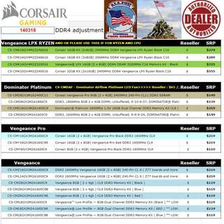 "Corsair Vengeance LPX....., to Vengeance Pro DDR4 Ram... SRP price list.   Interested...!! ""Start Order Today or Walk in Direct for Cheaper Offer rate"" (Apr-May 2018 price list)"