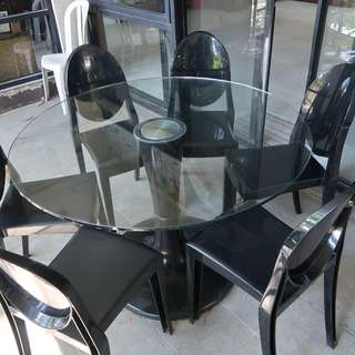 Modern Glass Table Set with 6 Chairs