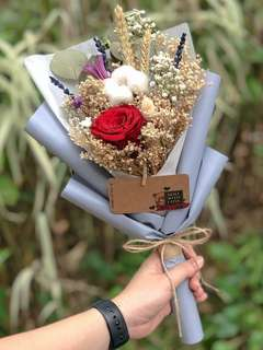 Preserved Flower Bouquet/ Rose & Cotton with Baby Breath Dried Flower Mix