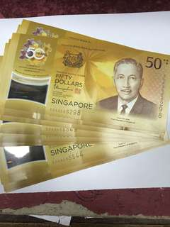 Used Singapore Sg 50 Dollar Note  AA prefix