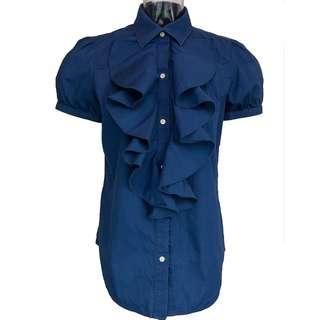 美國品牌Ralph Lauren深藍色荷葉純棉澎澎短袖襯衫 M號