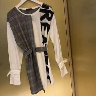 ZARA 多種綁法穿法拼接字母上衣 可當洋裝連衣裙 全新