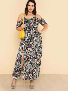 dress for plus size  can fit up to large to xl frame [ freesize] chiffon