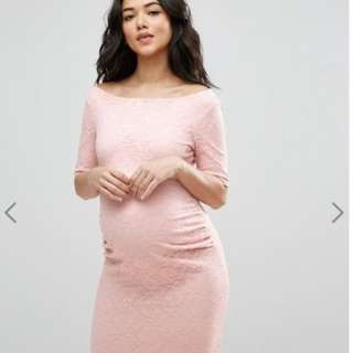 ASOS Maternity Wedding Bridesmaid Bardot Dress with Half Sleeve in Lace UK 14