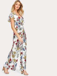 jumpsuit floral  can fit  up to medium to large frame [freesize] chiffon