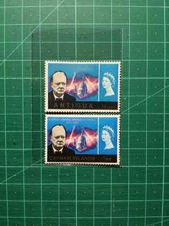 1966 安提瓜/開曼群島 邱吉爾紀念 新票兩枚