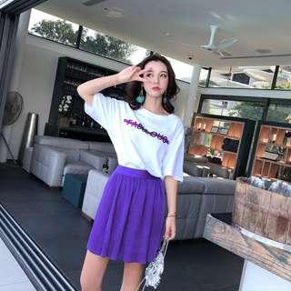 Minimei追加款✪韓系韓版百搭休閒紫色套裝休閒短袖T恤上衣百褶短裙兩件套
