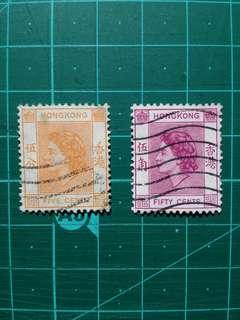 [贈品]1954 伊莉莎白二世第一組通用票 舊票兩枚