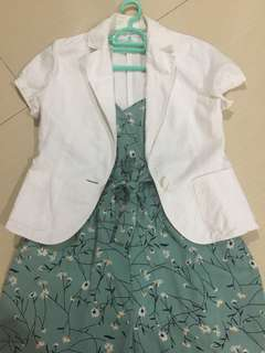 Set floral mint jumpsuit+white blazer
