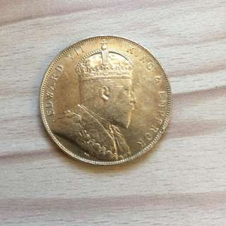 Straits 1908 King Edward $1 silver coin