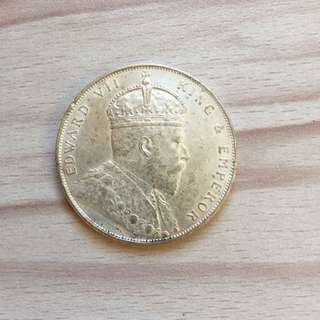 Straits 1907 King Edward $1 silver coin