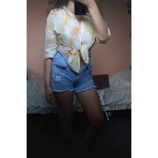Orange x Yellow toned shirt blouse💕