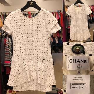 Chanel white with black dots tweet jacket size 36