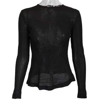 夏姿精品SHIATZY CHEN黑色雪紡點點長袖上衣 38號