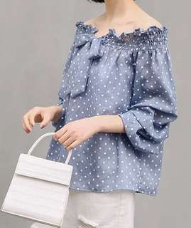 Miss vivi girl 點點ㄧ字領多層次袖型設計雅緻上班休閒質感小清新