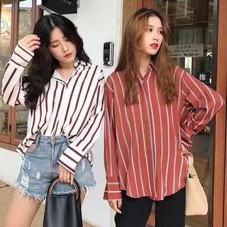Retro loose stripe shirt