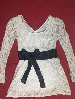 White Laced Korean Dress