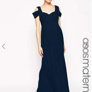ASOS Maternity WEDDING Maxi Dress With Cold Shoulder ( Navy Blue) UK12 UK14
