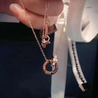 MK 全新正品 環環相扣 玫瑰金項鍊