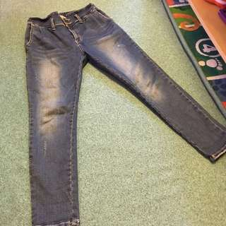 👖中腰伸縮彈性牛仔褲 M號