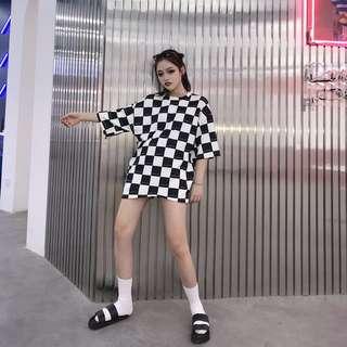 夏季韓版黑白棋盤格街頭嘻哈寬鬆情侶上衣短袖t恤
