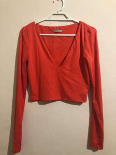 Kookai Orange Long Sleeve V Neck Crop