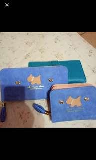 可愛狗狗藍色長夾+短夾組 買就送名片夾