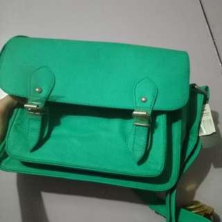Mint green satchel bag