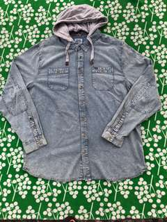 Mens denim poloshirt