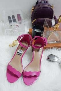 Payless fioni pink minimalist ankle strap mid heels