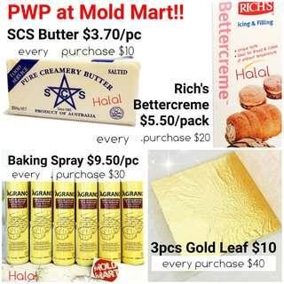 SCS butter rich bettercreme gold leaf baking spray offer