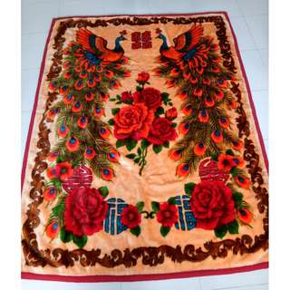 Chinese Traditional Double Happiness Wedding Throw Blanket