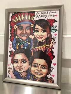 Family of 4 caricature drawing(digital) + frame (Promotion!)