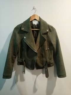 Khaki Green Biker Jacket