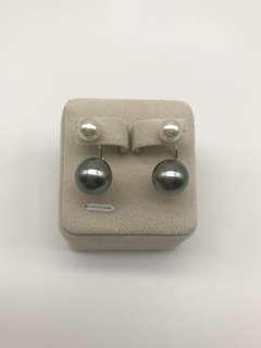 2戴法-細粒6.5mm akoya +11.5mm大溪地18K白金耳環