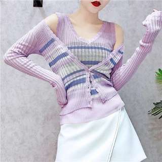 2pc Icy Knit Cardigan and Sleeveless Top