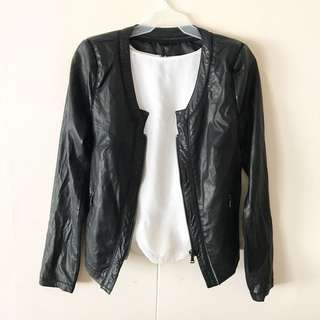 Black Leather x Sheer Jacket