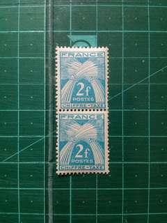 1946-53 法國 麥穗 欠資郵票 新票直雙連