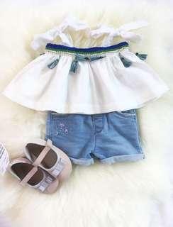 Top & Denim Shorts ( 6-12mons )