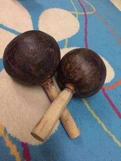 Plain wooden maracas