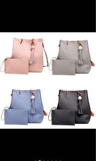 2in1 Korean Bag Shoulder/ Handle Bag With Tassel