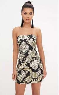 BNWT PRETTY LITTLE THING Black Oriental Bandeau Bodycon Dress