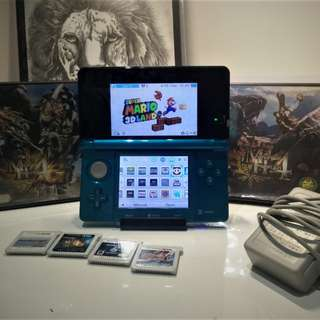 Nintendo 3ds Aqua Blue (Modded) + 25 Games + Super Mario 3D Land
