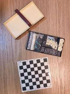 極罕見 收藏物 迷你 遊戲盒 西洋棋 牌九 擲骰子
