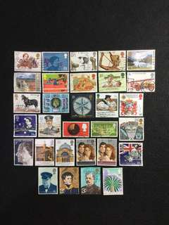 C.Great Britain 30 Different Used Stamps  (Lot C)