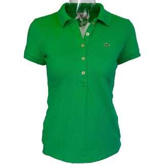 法國LACOSTE鱷魚綠色網眼短袖POLO衫 38號